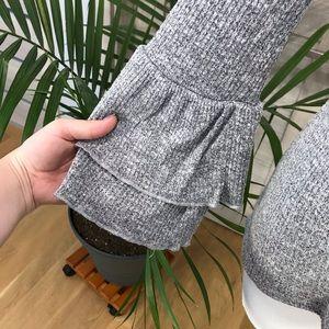 Cielo Tops - Cielo | Ribbed V Neck Ruffle Bell Sleeve Knit Top